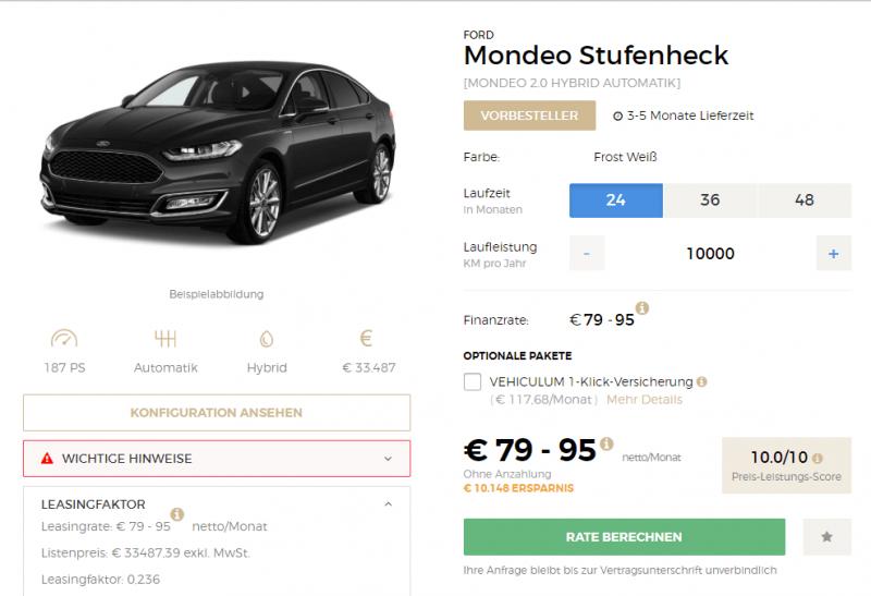 Ford Mondeo Angebot von Vehiculum.de (Screenshot)