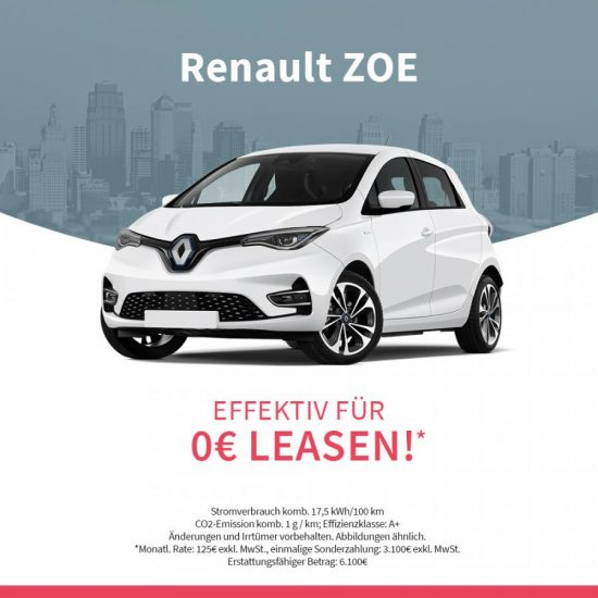 Renault ZOE Z.E 50 Life-Edition für 145 € (durch BAFA-Prämie für effektiv 0,-€* leasen)